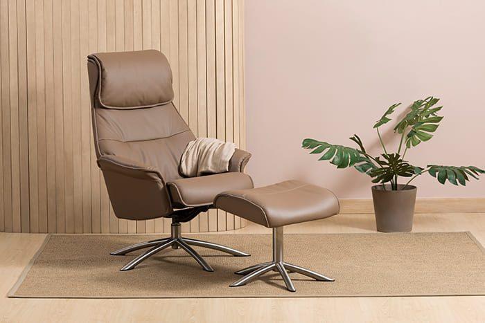 Sienna Relaxsessel mit Hocker schwarz IMG Comfort Chrome Fango