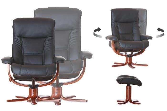 Viking von IMG Comfort - Sessel mit Hocker choco