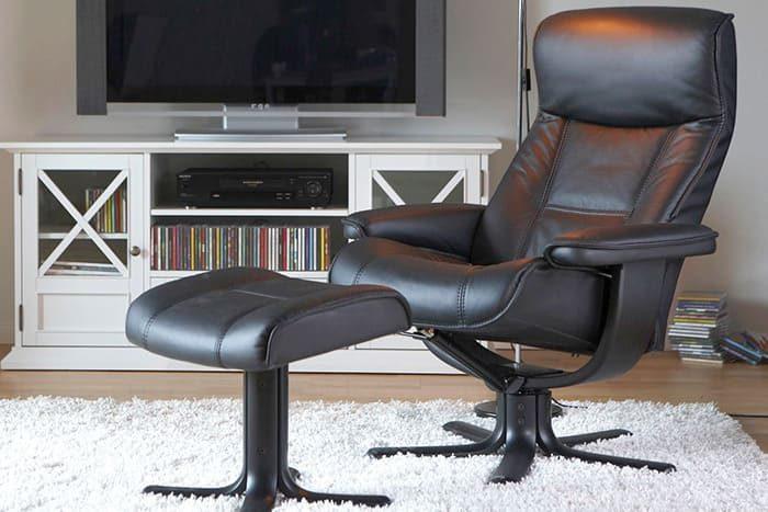 Viking von IMG Comfort - Sessel mit Hocker schwarz